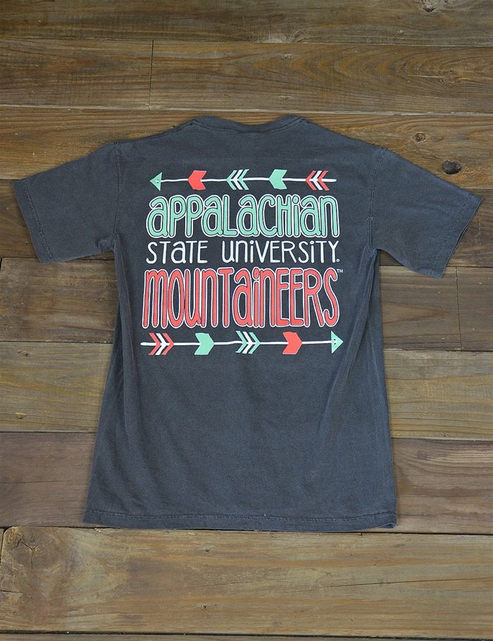 Follow your arrow all the way to Boone, NC where you will find Appalachian State University! Enjoy this Mountaineers Comfort Color t-shirt while showing your school spirit! GO APP STATE!