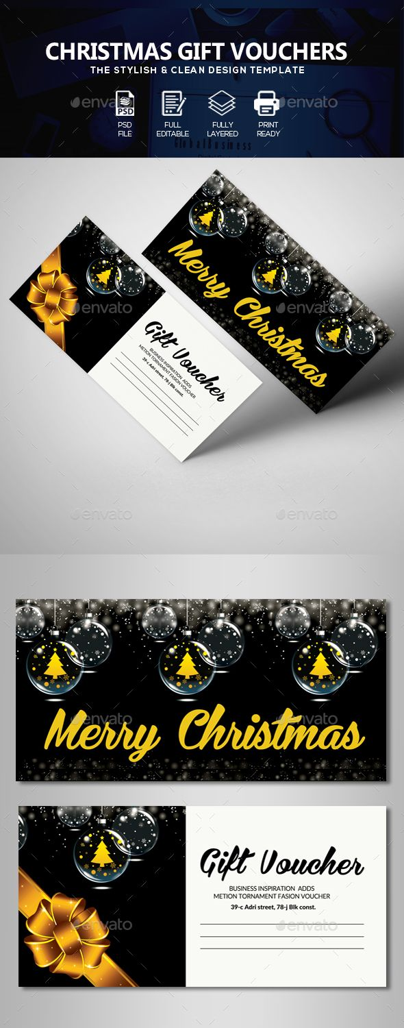 Christmas Gift Voucher #christmas sky #snow  • Download here → https://graphicriver.net/item/christmas-gift-voucher/21084360?ref=pxcr