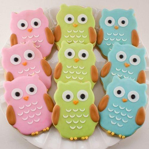 Owl Cookies - Birthday Baby Shower Girl