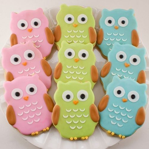 owl cookies: Owl Sugar Cookies, Owl Cookies, Birthday Cookies, Owl Party, Sweet Potatoes, Decoration Cookies, Cookies Favors, Birthday Party, Baby Showers