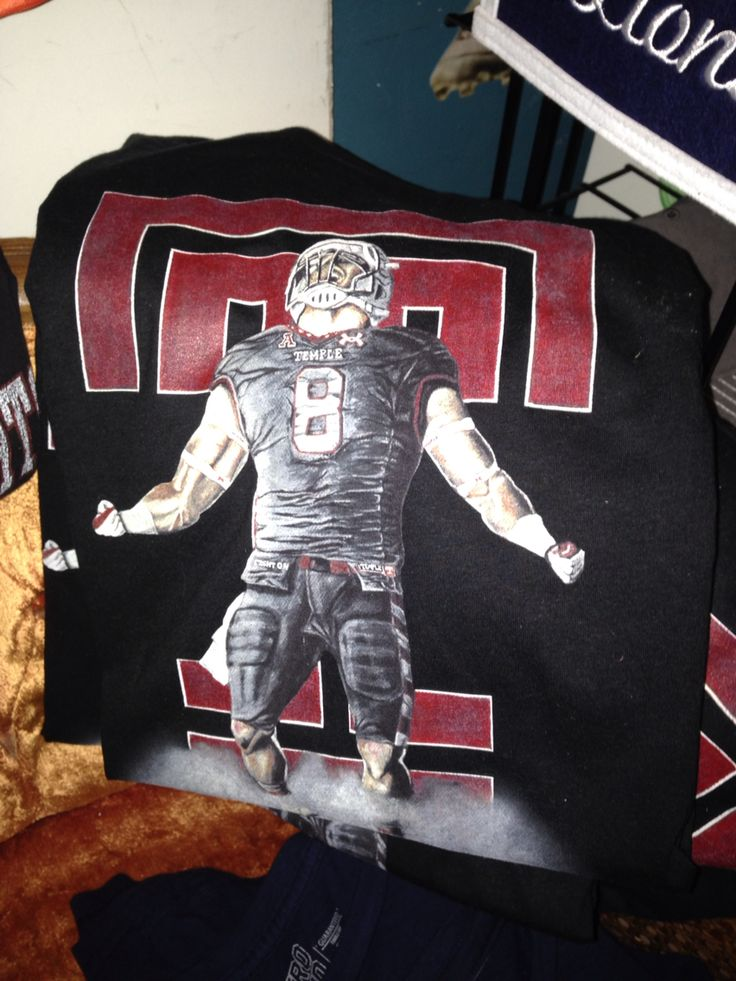 Custom artist designed Temple University Football tee by Jordan Palmer.