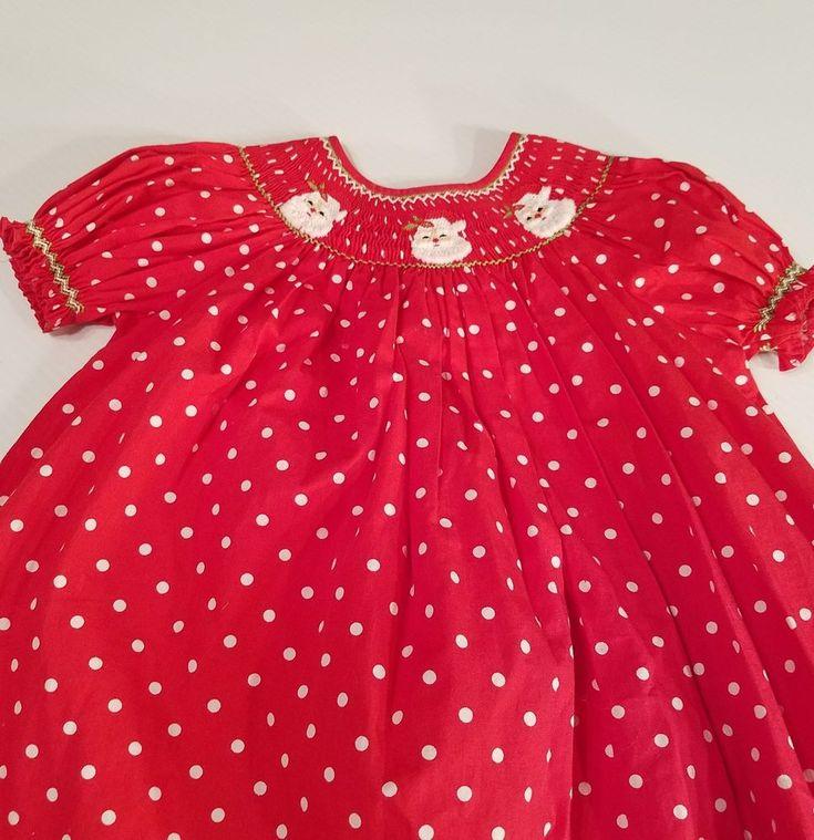 4288668c09 Mom   Me Smocked Christmas Dress 18 Months Santa Red White Polka Dot