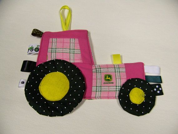 Pink Toy John Deere Tractor Patchwork Crinkle Toy by civilwarlady