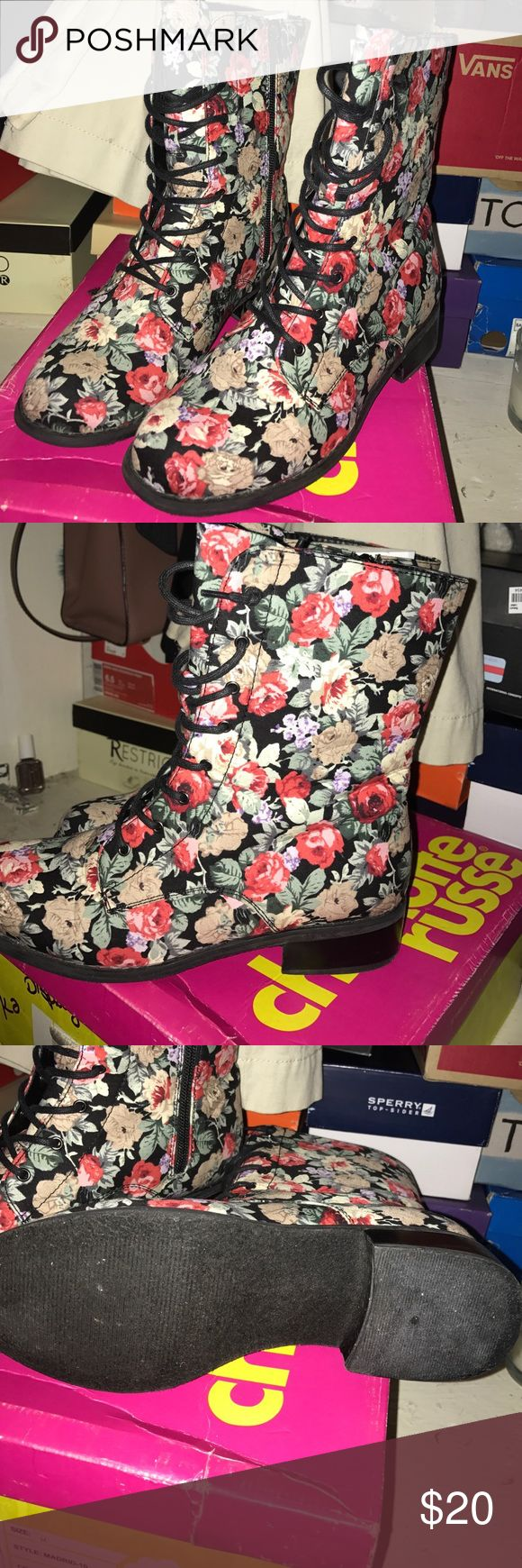 Floral combat boots Vintage boots, worn once! Comes with box 10/10 condition Charlotte Russe Shoes Ankle Boots & Booties