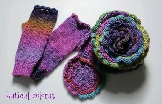 Crochet scarf knit mittens fingerless gloves by ButiculColorat