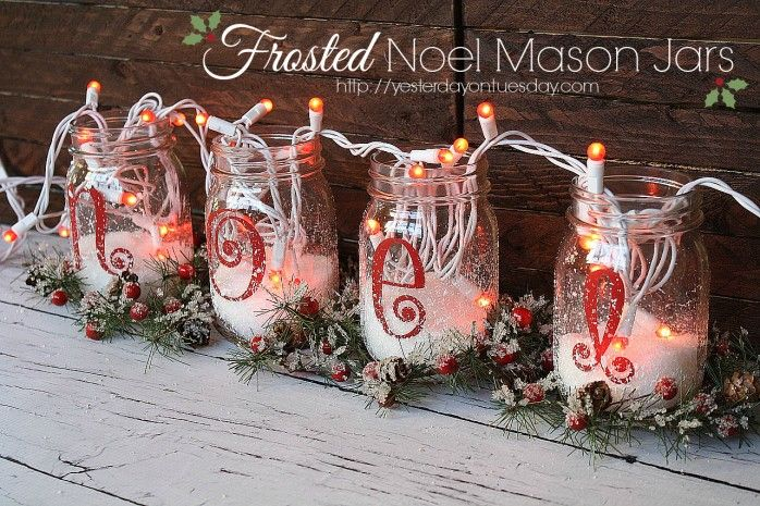 Pretty project for Christmas: Frosted Noel Mason Jars from Yesterday On Tuesday