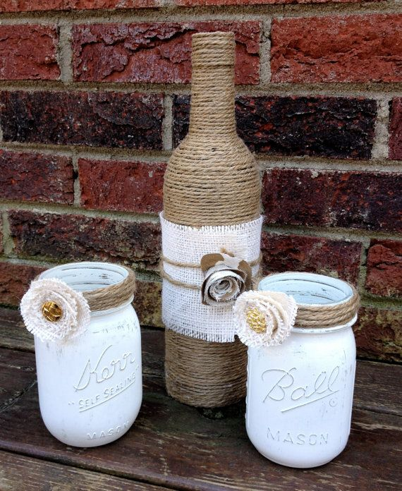 Shabby Chic Upcycled Mason Jars and Jute Vase, Home Decor, Wedding, Centerpiece, Office or Dorm Organization