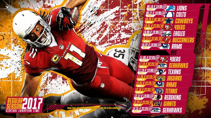 Schedule wallpaper for the Arizona Cardinals Regular Season, 2017 Central European Time. Made by #tgersdiy