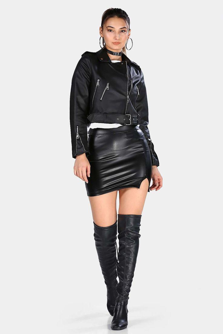 Fermuarli Kemerli Siyah Kadin Deri Ceket Patirti In 2020 Leather Jacket Girl Girls Jacket Black Leather Jacket