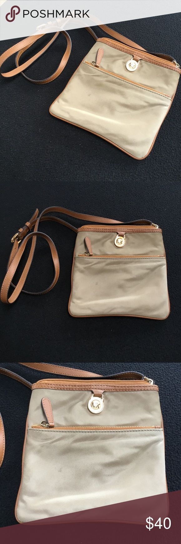 MK Cross-body Satchel This is cream with lime green inside. There's a small stain in the front that may be removed with a cleaning. Michael Kors Bags Satchels