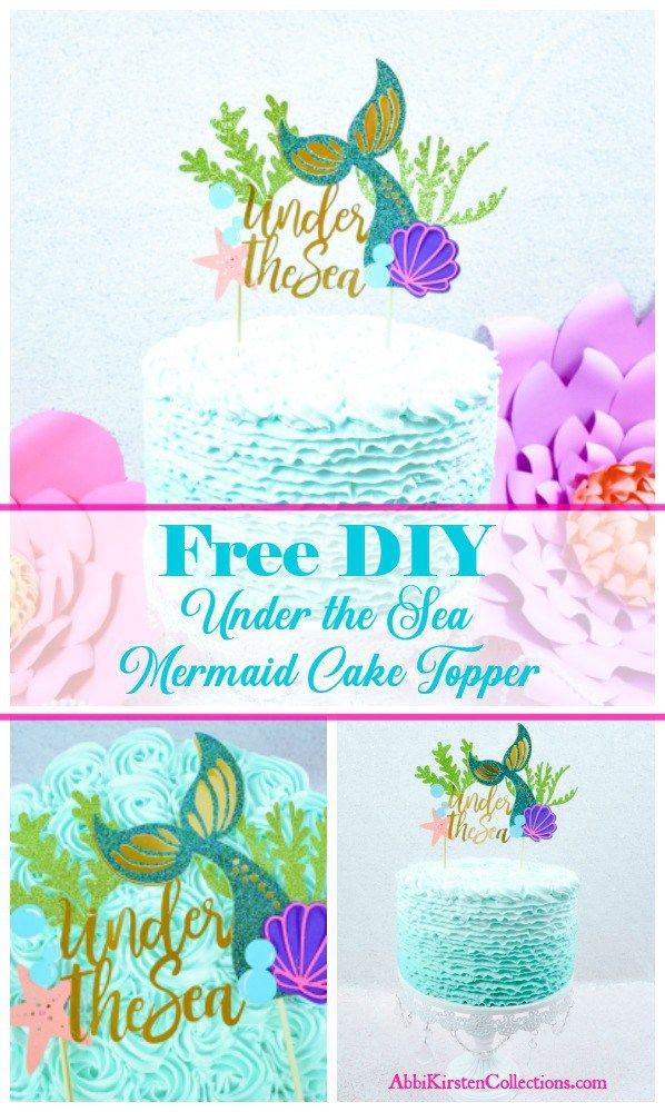 Free Diy Under The Sea Mermaid Tail Cake Topper Party Decor Ideas Printables