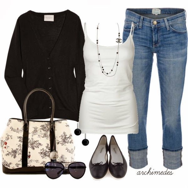Adorable cardigan, white blouse, jeans, handbag and slippers for fall