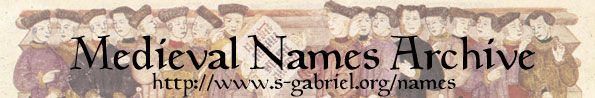 Medieval Naming Guides: English Names 1450-1600 ~ great site with a series of articles!