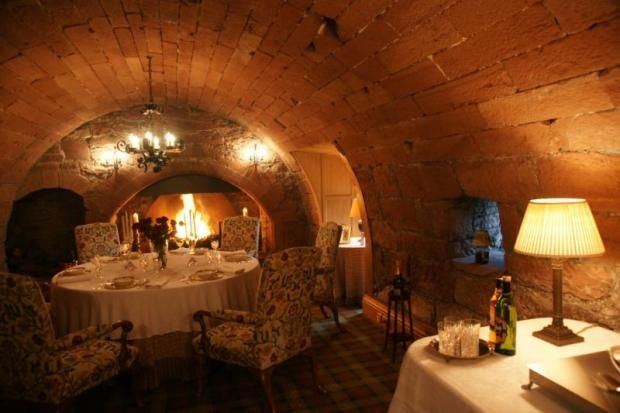sp00ky underground casual dining room w/ long table