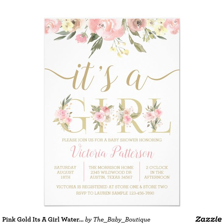 Pink Gold Its A Girl Watercolor Floral Baby Shower Invitation   Zazzle.com
