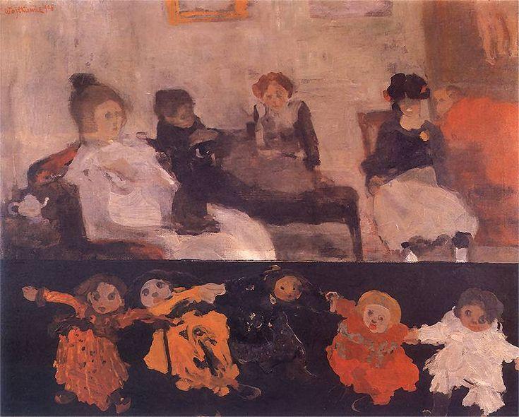 Lalki.  1906. Olej na płótnie. 69 x 89 cm.  Muzeum Narodowe, Warszawa.    http://www.pinakoteka.zascianek.pl/Wojtkiewicz/Images/Lalki.jpg
