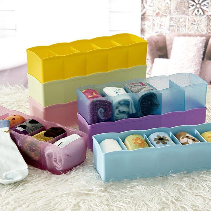 >> Click to Buy << TSSAAG 5 Cells Plastic Lattice Underwear Socks Accessories Storage Box #Affiliate