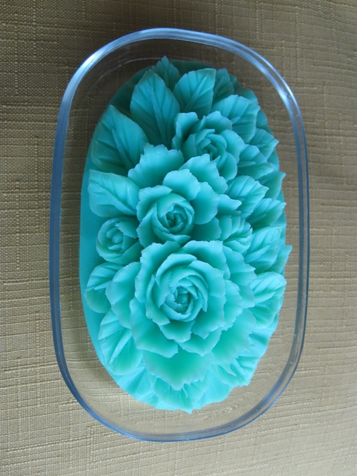 Delicate soap carving----that Emma would grab out of the dish and lather up with and cover with black dry-erase marker.