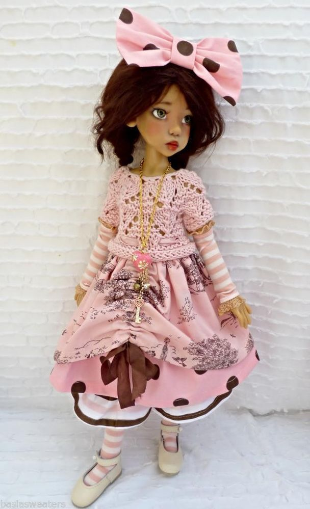 PINK/BROWN TOILE SUMMER OUTFIT FOR MSD LAYLA KAYE WIGGS DOLLSTOWN DT7 BY BARBARA