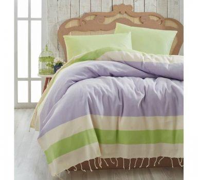 Cuvertura Pique Natural - Lilac/Verde