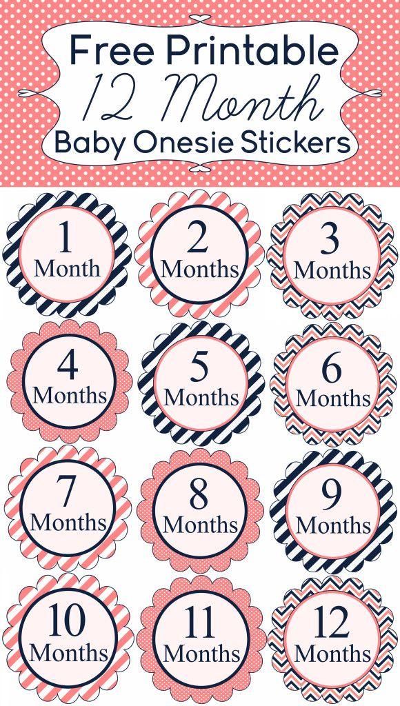 Free 12 Month Onesie Sticker Printables www.iheartartsncrafts.com