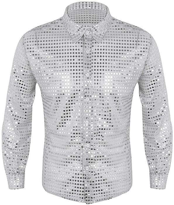 Mens Long Sleeved Gold Sequin Sweatshirt Stage Costume T-shirt Top Tee Shirt New