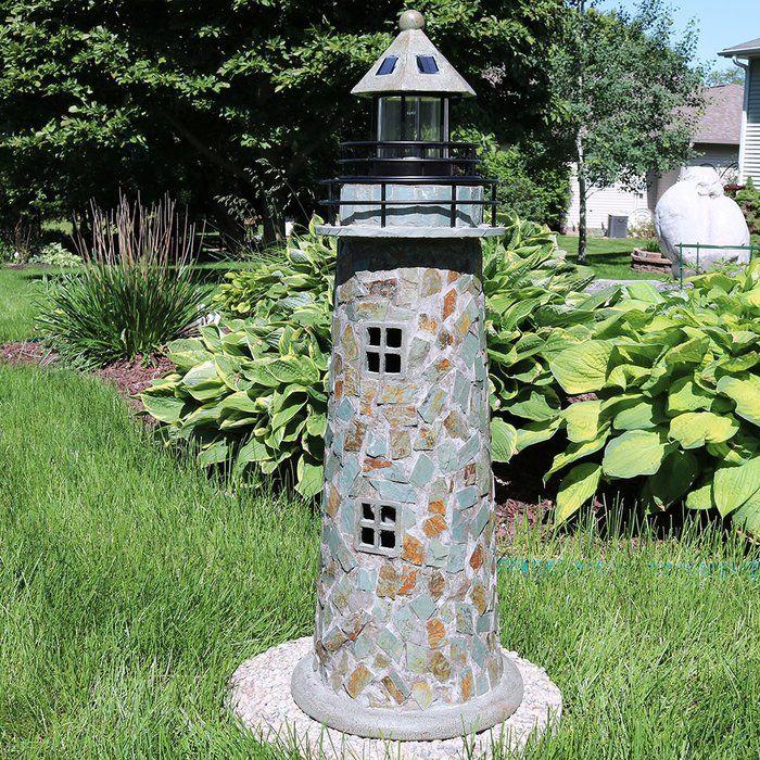Caulkins Cobblestone Solar Led Lighthouse Statue Garden
