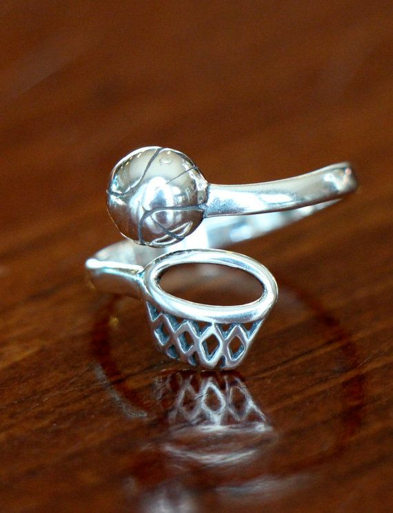 Basketball Sterling Silver Ring, Basketball Players Jewelry Gift, Basketball Coach Gift, Basketball Team Gift, Adjustable Size Ring