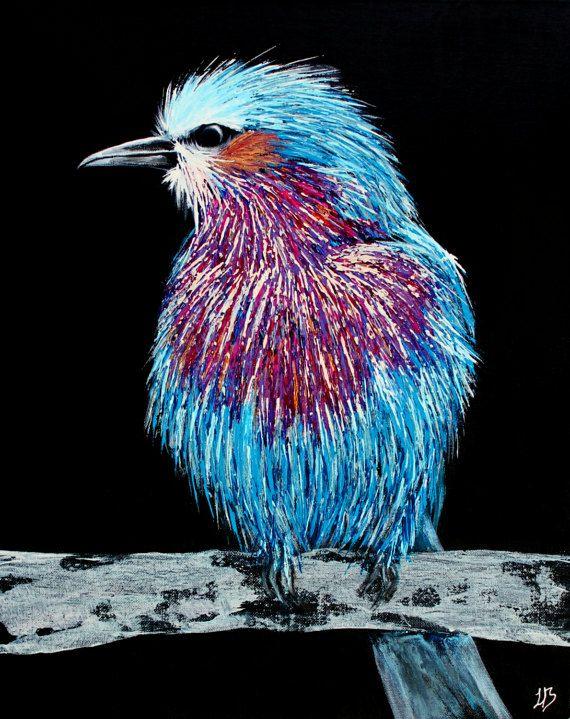 Lila breasted roller vogel kleurrijke vogel schilderij