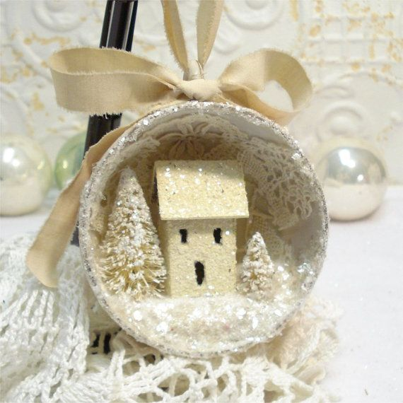 Tea Cup Ornament Shabby Chic Putz House by GumDropSugarShop SOLD