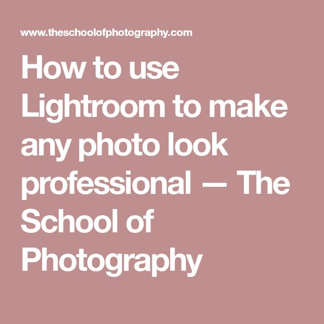 How to use Lightroom to make any photo look professional — The School of Photography