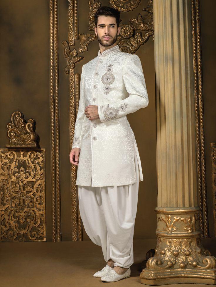Jamawar Off White Wedding Wear Men Indo Western  For price or detail do whatsApp +91-9913433322