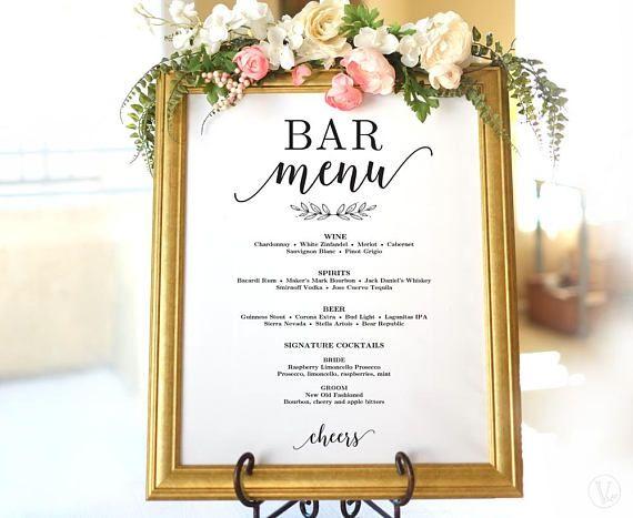 Wedding Drinks Menu Sign Printable Wedding Bar Menu