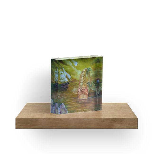 acrylic block, home,office,accessories,decor,ideas,mermaid,fantasy,gold,items,design,cool,beautiful,fancy,unique,trendy,artistic,awesome,fahionable,unusual,for sale,redbubble