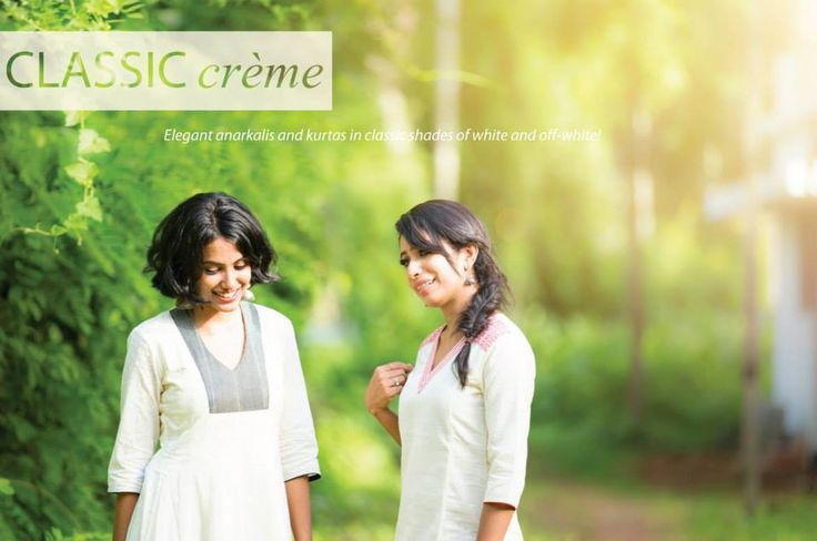 Classic crème - Elegant, soft cotton anarkalis and kurtas in classic shades of white and off-white..  Shop at http://www.shalinijamesmantra.com/classic-creme.html