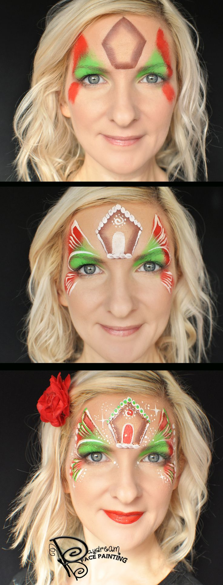 One Stroke Gingerbread House Christmas Face Painting Step by Step #christmas #facepaint #gingerbread @moodygirl1