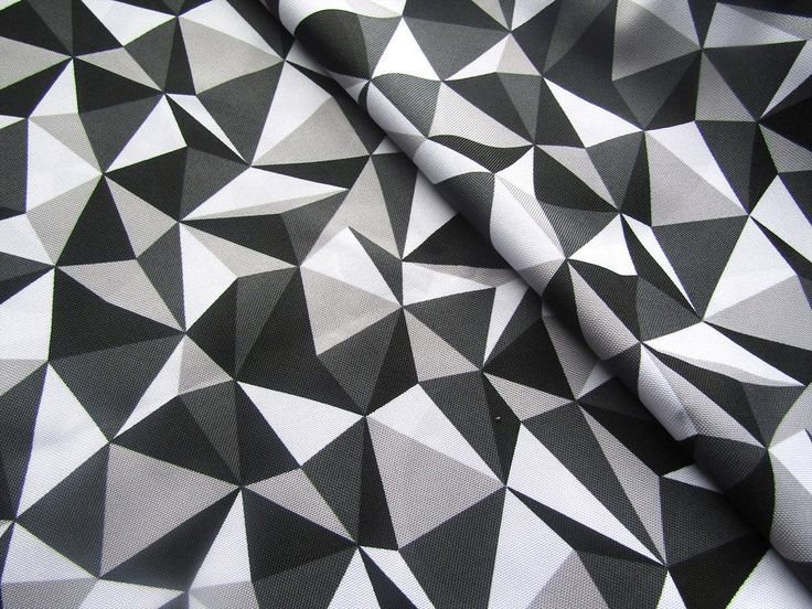 Waterproof Fabric -   Triangles in Grey Black& white  - Oilcloth Fabric - PVC fabric by half meter by AlchemyAndFabric on Etsy