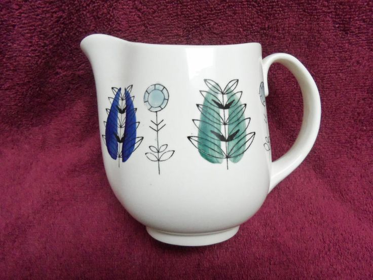 Majestic Mid Century Eames era Egersund Norway Hand Painted Floral Jug Pitcher