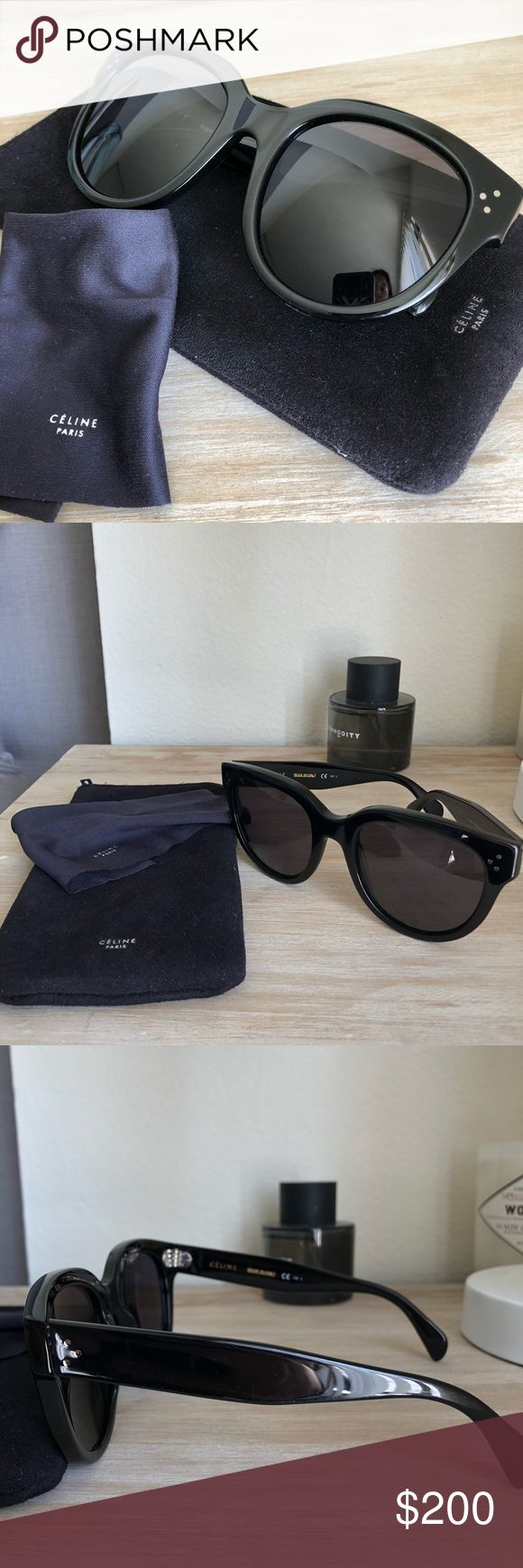Celine Audrey Sunglasses in Black Celine Audrey sunglasses in black. These are the Audrey and not Baby Audrey. In good used condition, a few hairline scratches on lens and frame. Price is negotiable but no lowballs. Comes with original case and cleaning cloth! Celine Accessories Sunglasses