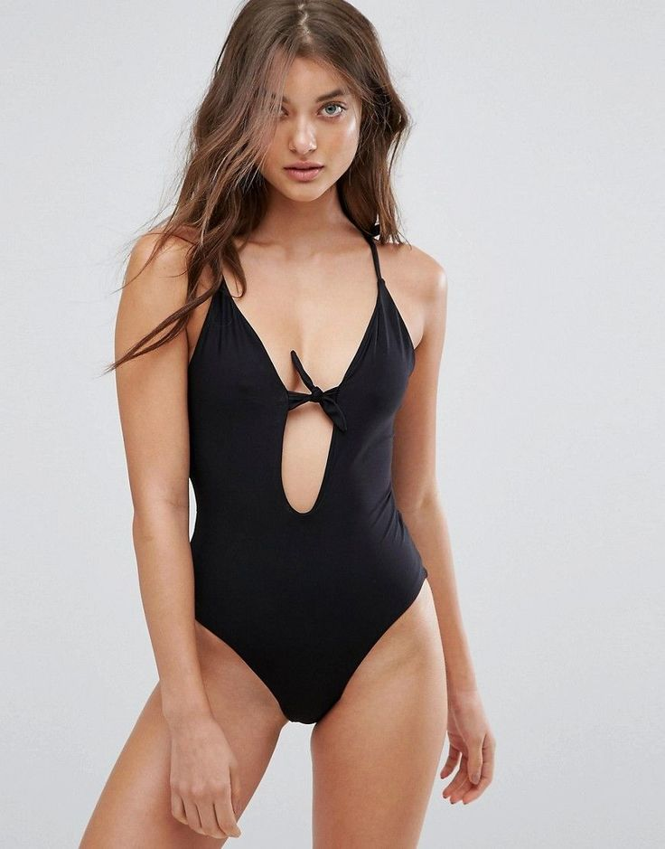 Pull&Bear Swimsuit with Bow Front - Black
