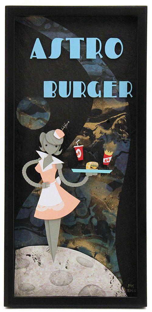 """Astro Burger"" by artist Megan Hughes - ""Yesterday's Tomorrow"" Exhibition - Gallery Nucleus"