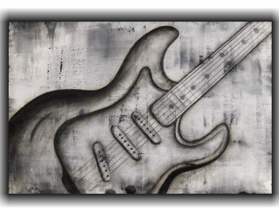 $200 Original guitar painting by Colleen Winning - The Colleen Art Studio - www.thecolleenartstudio.com