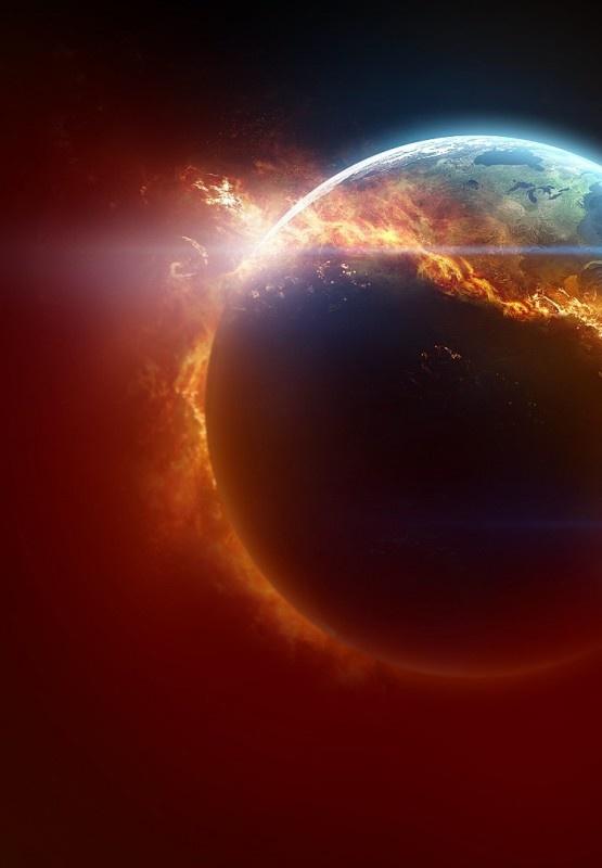 Burning planet.