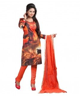 Bunny Sarees Magnificent Orange Colour Digital Print Cotton Dress Material