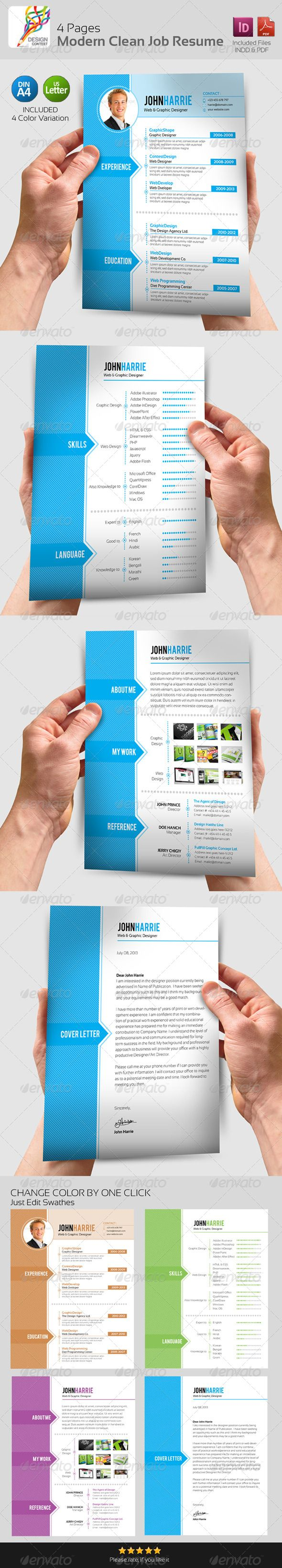 4 Pages Modern Clean Job Resume GraphicRiver