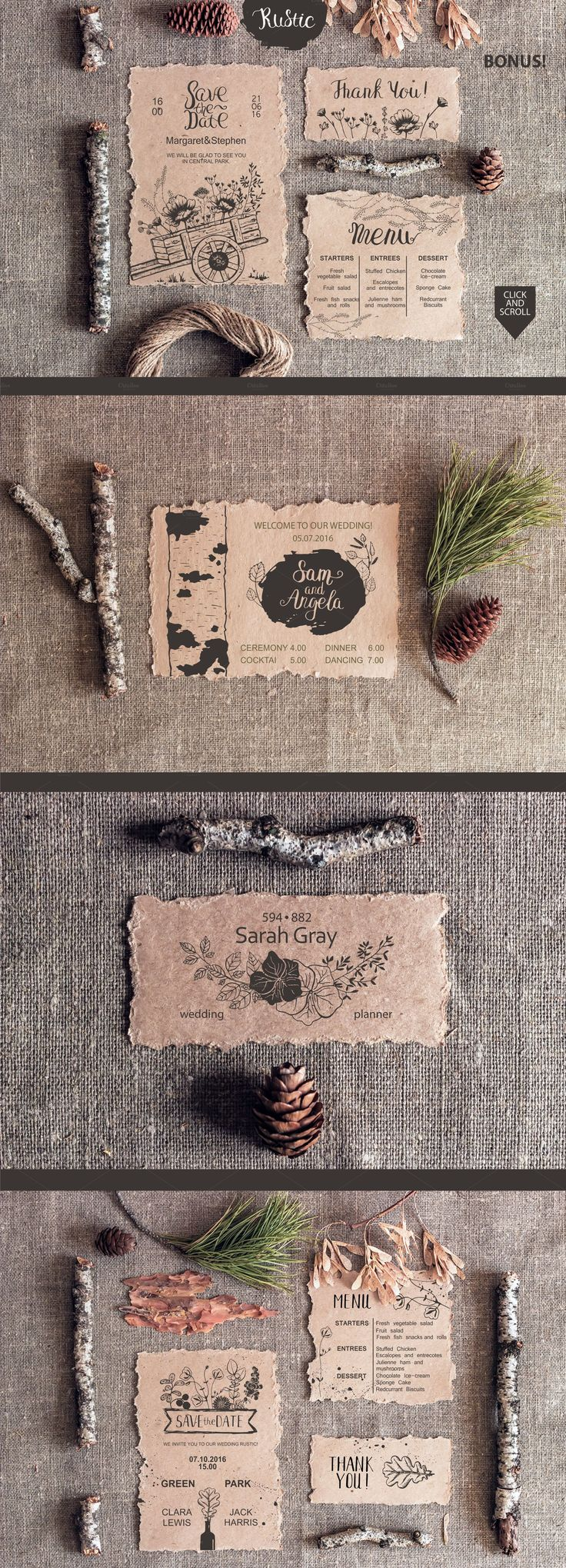 Rustic wedding collection: wedding invitations, menus, thank you cards and 29 vector files.