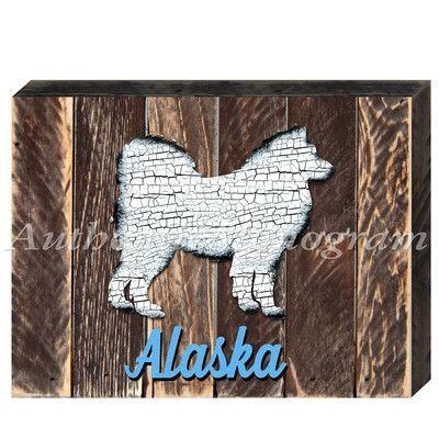 "aMonogramArtUnlimited Alaska Husky Dog Art Board Wall Décor Size: 12"" H x 18"" W x 1.5"" D"