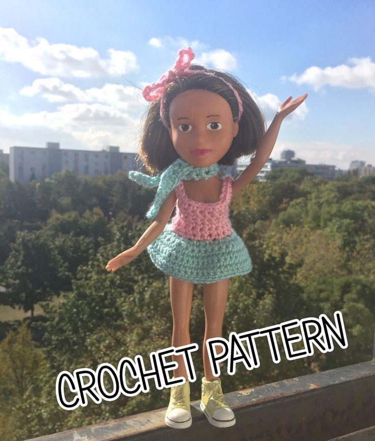 Crochet pattern - how to crochet bratz doll dress, crochet dress, DIY, instant download, pattern, barbie, blythe, monster high, pullip doll by Theordinarydiary on Etsy