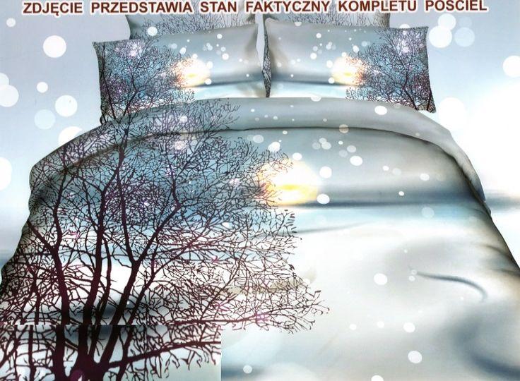 Zimowa pościel bawełniana w kolorze biało błękitnym z drzewkiem