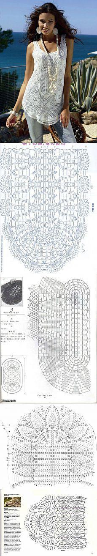 Musculosa a crochet, tejido circular.